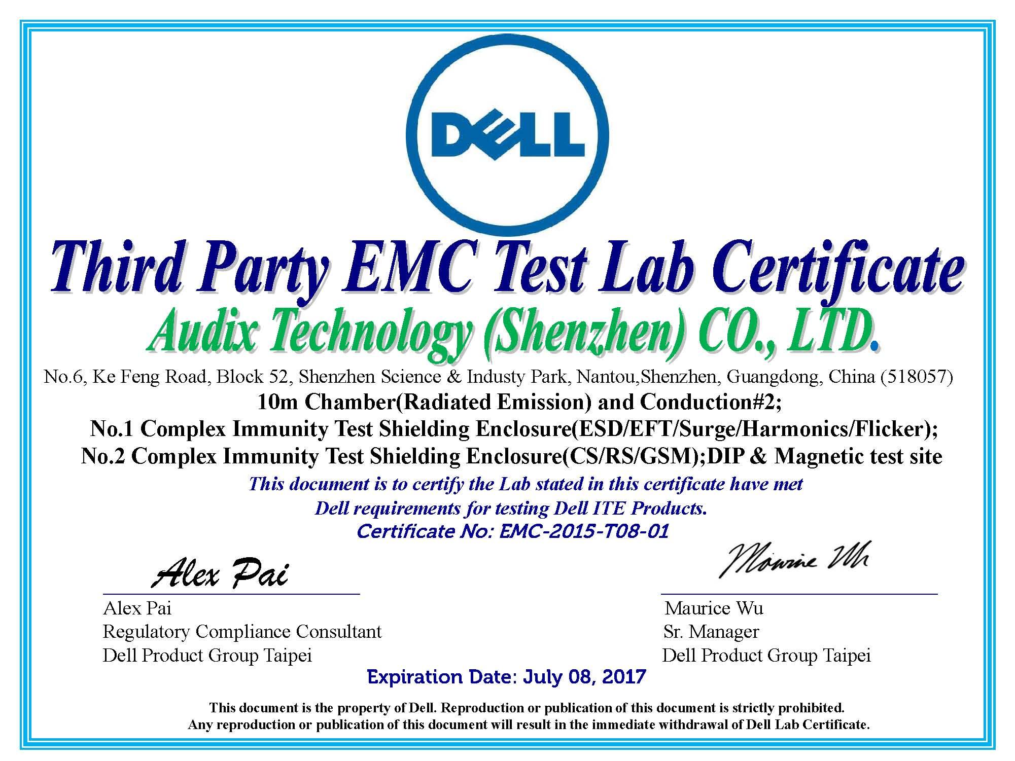 Audix Corporation About Technique Group Service Certificate